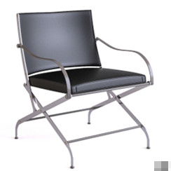 Black iron legs folding chair model 3D Model
