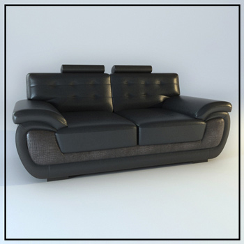 Black leather double sofa 3D Model
