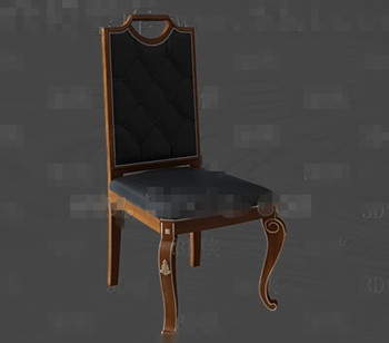 Black leather exquisite wooden chair 3D Model