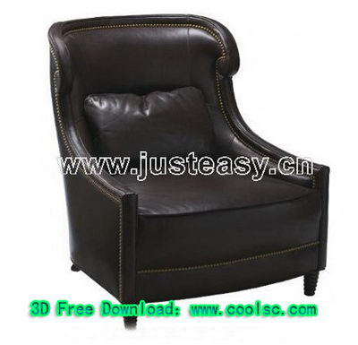 Black leather sofa 3D model (including materials)