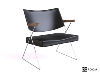 Black leather wooden armchair 3D Model