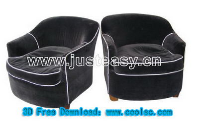 Black leisure sofa 3D model (including materials)