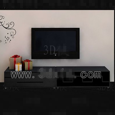 Black long-shaped television cabinet 3D Model