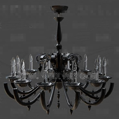 Black metal frame crystal chandelier 3D Model