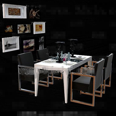 Black metal frame dining table combination 3D Model