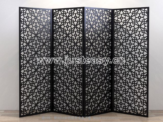 Black Sizhe carved screen 3D model (including materials)