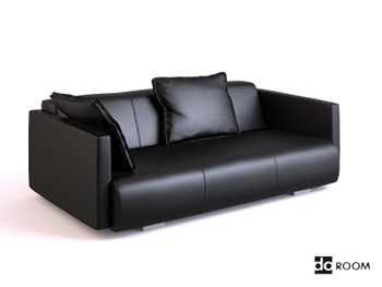Black soft leather three seats sofa 3D Model