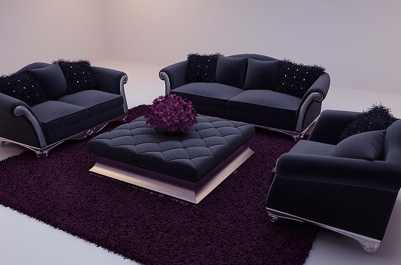 Black soft sofa 3D model (including materials)