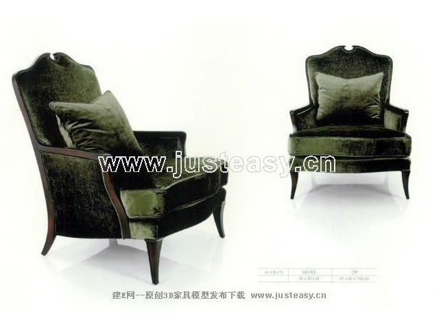 Black super soft sofa chair 3D Model