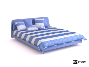 Blue and white striped double bed 3D Model