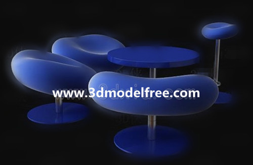 Blue Leisure chair combination 3D Model