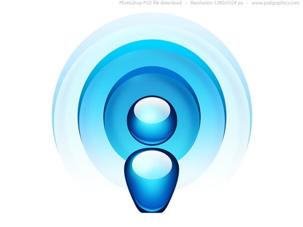 Blue radio wave icon (PSD)