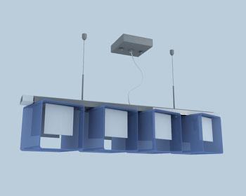 Blue square combination chandelier 3D Model