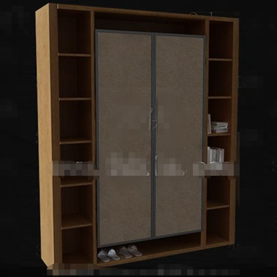 Bookcase-style wooden wardrobe 3D Model