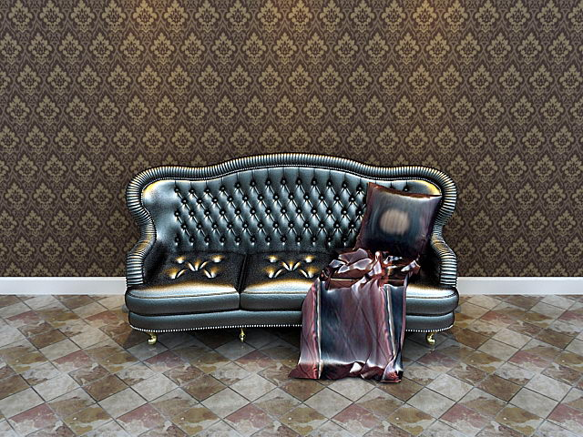Boss leather sofa 3D model (including materials)
