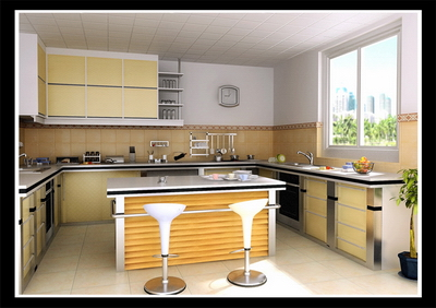 Bright and spacious kitchen 3D model (with map)