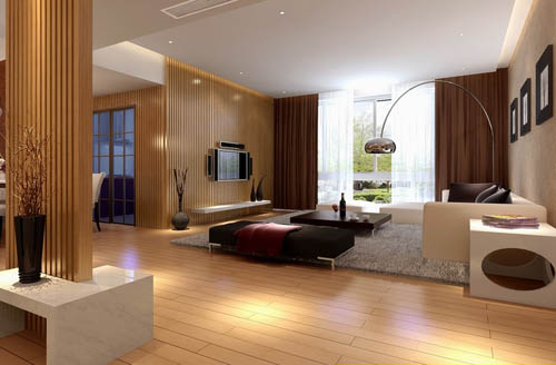 Bright and spacious living room design model 3D Model