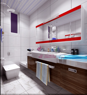 Bright and spacious modern bathroom 3D Models