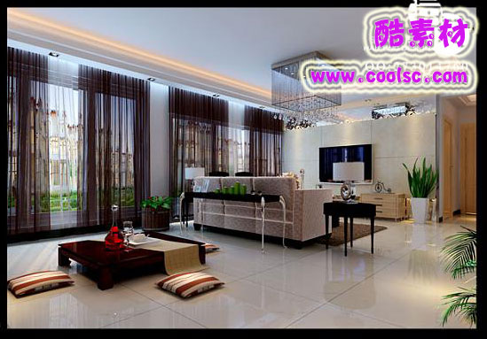Bright Southeast Asian Style Drawing Room Render Demo 3D Model