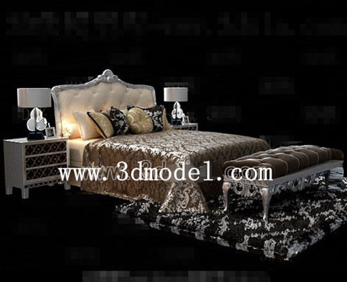 Brown and light yellow double bed 3D Model