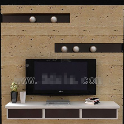Brown and white fashion TV wall 3D Model