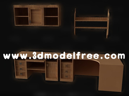 Brown computer desk combination 3D Model