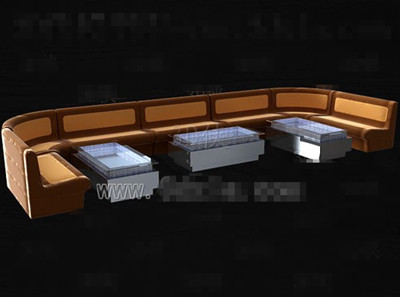 Brown fabric sofa tea table combination 3D Model