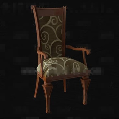 Brown fabric wood carved chair 3D Model