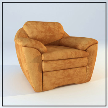 Brown leather single sofa 3D Model