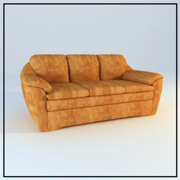 Brown Leather sofa model for many people 3D Model