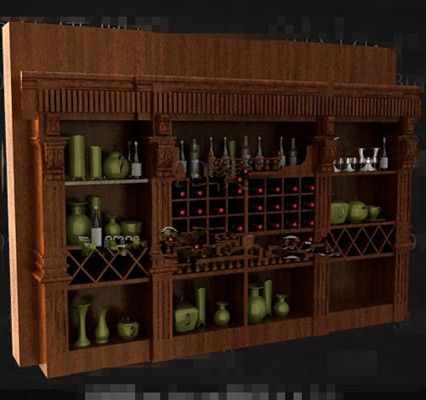 Brown multi grids wooden wine cabinet 3D Model