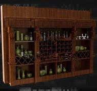 Brown multi grids wooden wine cabinet 3D Model