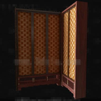 Brown screen-type wooden wardrobe 3D Model