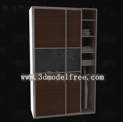 Brown simple two-door wardrobe 3D Model