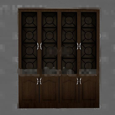 Brown simple wooden display cabinet 3D Model
