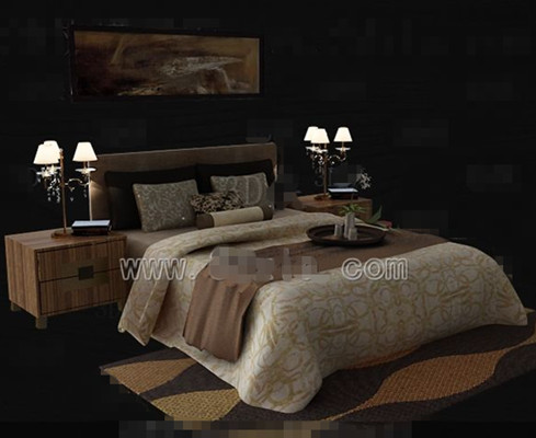 Brown theme simple double bed 3D Model