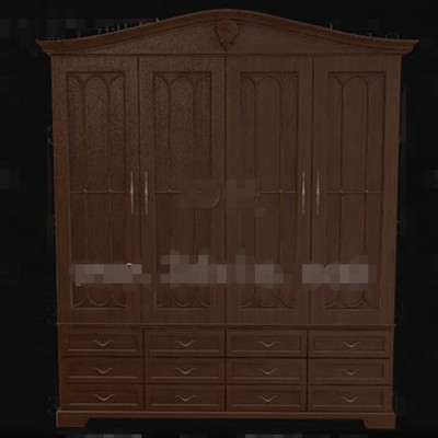 Brown three layers drawers wooden wardrobe 3D Model