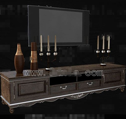 Brown trim white side TV cabinet 3D Model
