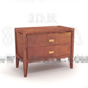 Brown two-tier drawers bedside cabinet 3D Model