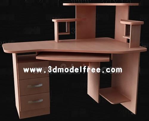 Brown versatile computer desk 3D Model