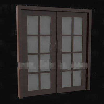 Brown wooden glass doors 3D Model