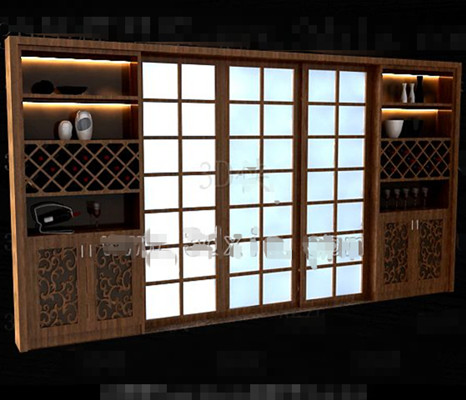 Brown wooden Japanese-style wine cabinet 3D Model