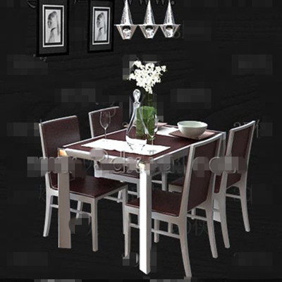 Brown wooden simple style dining table 3D Model