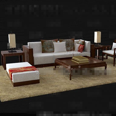 Brown wooden white fabric sofa combination 3D Model