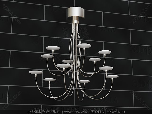 Candlestick metal chandelier 3D Model