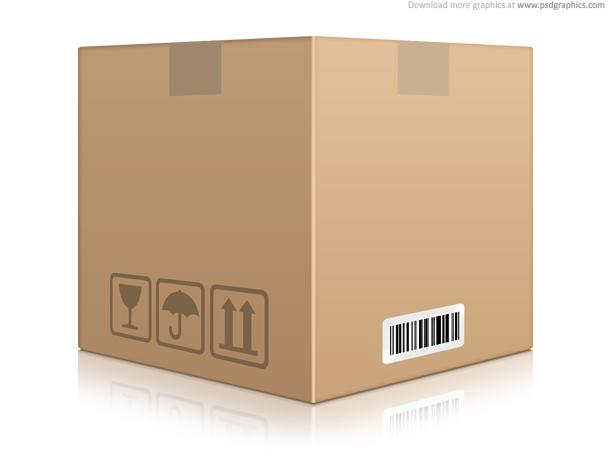 Cardboard box icon (PSD)