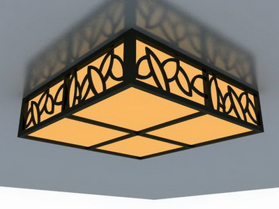 Ceiling Lamp Model: Classical Cuboid Ceiling Lamp 3D Model