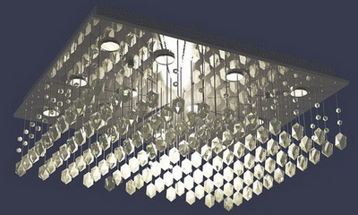 Ceiling Lamp Model�� Crystal Strut Ceiling Lamp 3Ds Max Model