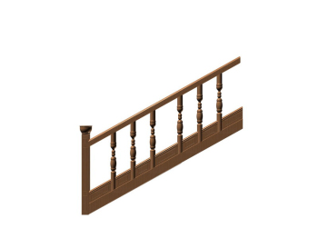 Chinese brown and ancient stairs 3D Model