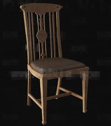 Chinese brown wood wooden chair 3D Model